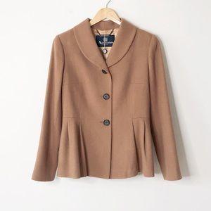 Host Pick Aquascutum London Camel Wool Peplum Coat